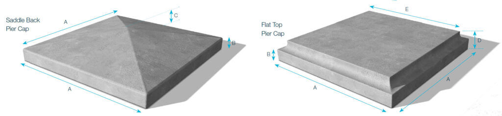 FP-McCann-Building-Products-precast-concrete-pier-caps-saddle-back-flat-top-diagrams