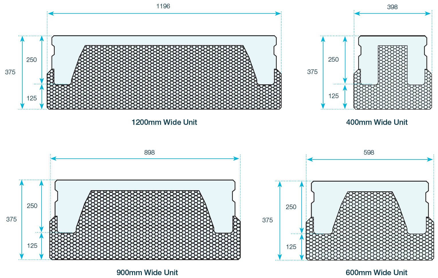 FP McCann precast concrete thermabeam 375mm thermabeam unit diagram - 300mm, 600mm, 900mm, 1200mm widths
