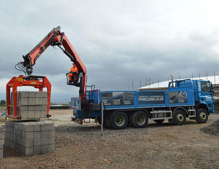 FP-McCanns-concrete-9x4-blocks-being-delivered-to-Nicholls-Filling-Station-Greysteel